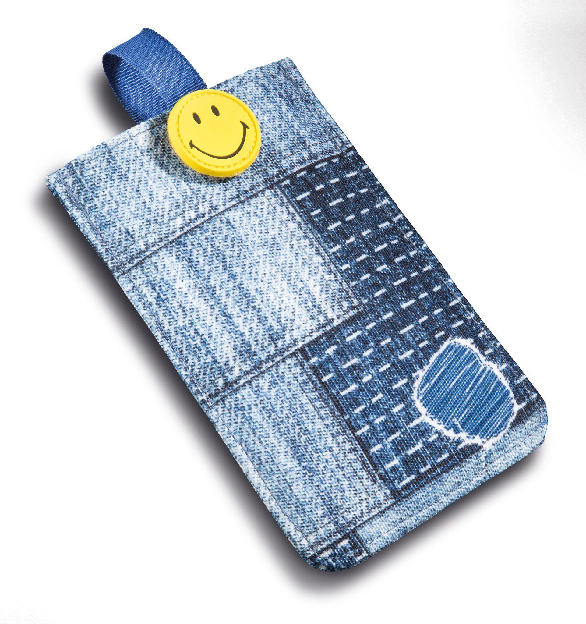 Nici 41535 Smiley etui na telefon komórkowy, wygląd jeansowy, 10 x 15 cm