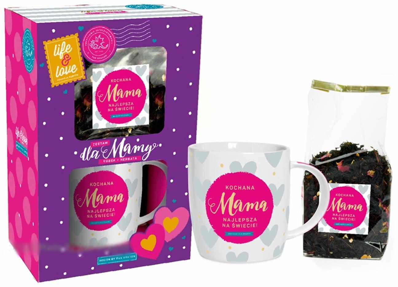 Kubek ceramiczny z napisem Kochana Mama + herbatka