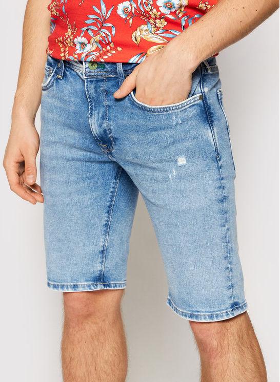 Pepe Jeans Szorty jeansowe Stanley PM800792 Niebieski Slim Fit