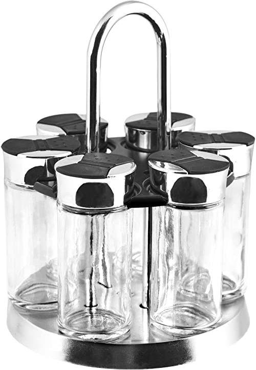 Home Szklany pojemnik na przyprawy ze stali nierdzewnej, przezroczysty