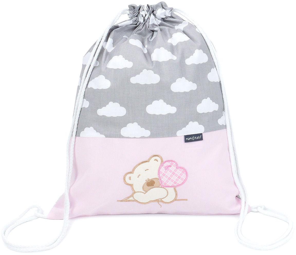 Plecak / worek bawełniany dla dzieci Chmurki białe na szarym / miś z serduszkiem w różu