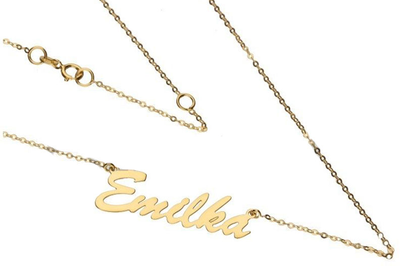 Złoty naszyjnik 333 z imieniem Emilka 1g łańcuszkowy