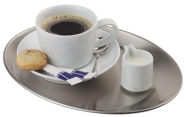 Taca owalna ze stali nierdzewnej do serwowania kawy różne wymiary