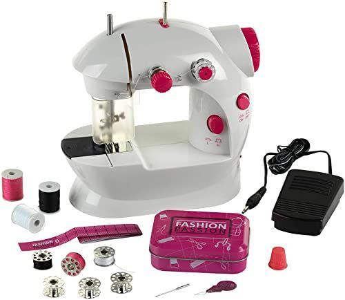 Theo Klein 7901 Fashion Passion dziecięca maszyna do szycia I z pedałem nożnym, 2 poziomy prędkości i wiele akcesoriów I Wymiary: 19,5 cm x 12,5 cm x 20 cm Zabawka dla dzieci w wieku od 8 lat