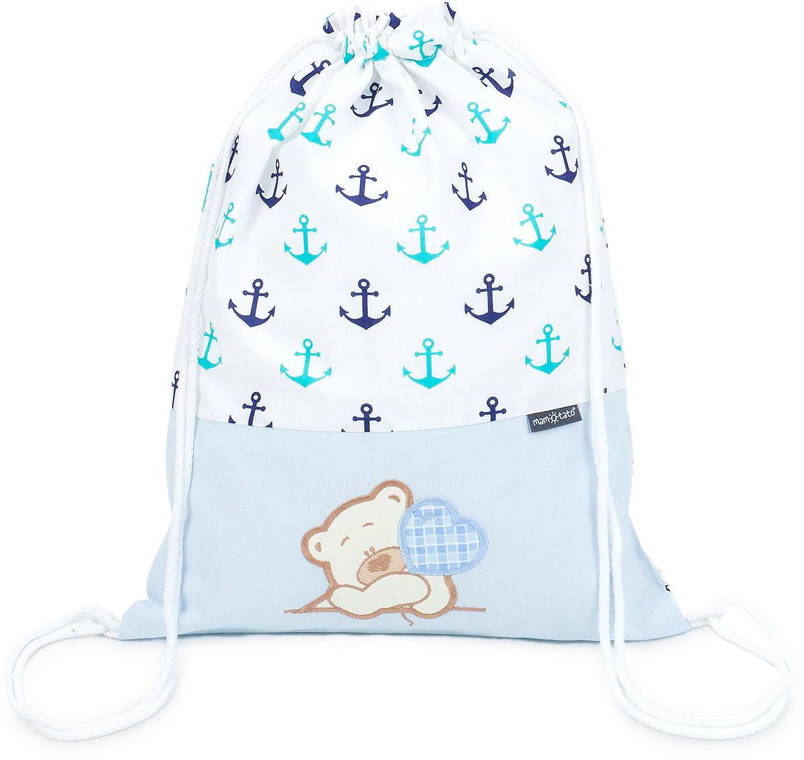 Plecak / worek bawełniany dla dzieci - Kotwiczki / miś z serduszkiem w błękicie