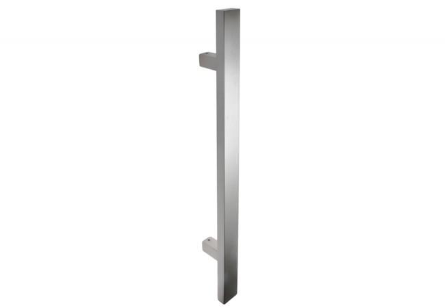 Pochwyt drzwiowy jednostronny (90 stopni) L=650 mm, X=450 mm, stal nierdzewna prostokątny bez śrub łączących uchwyt