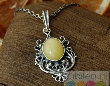 Palencia - srebrny wisiorek z bursztynem