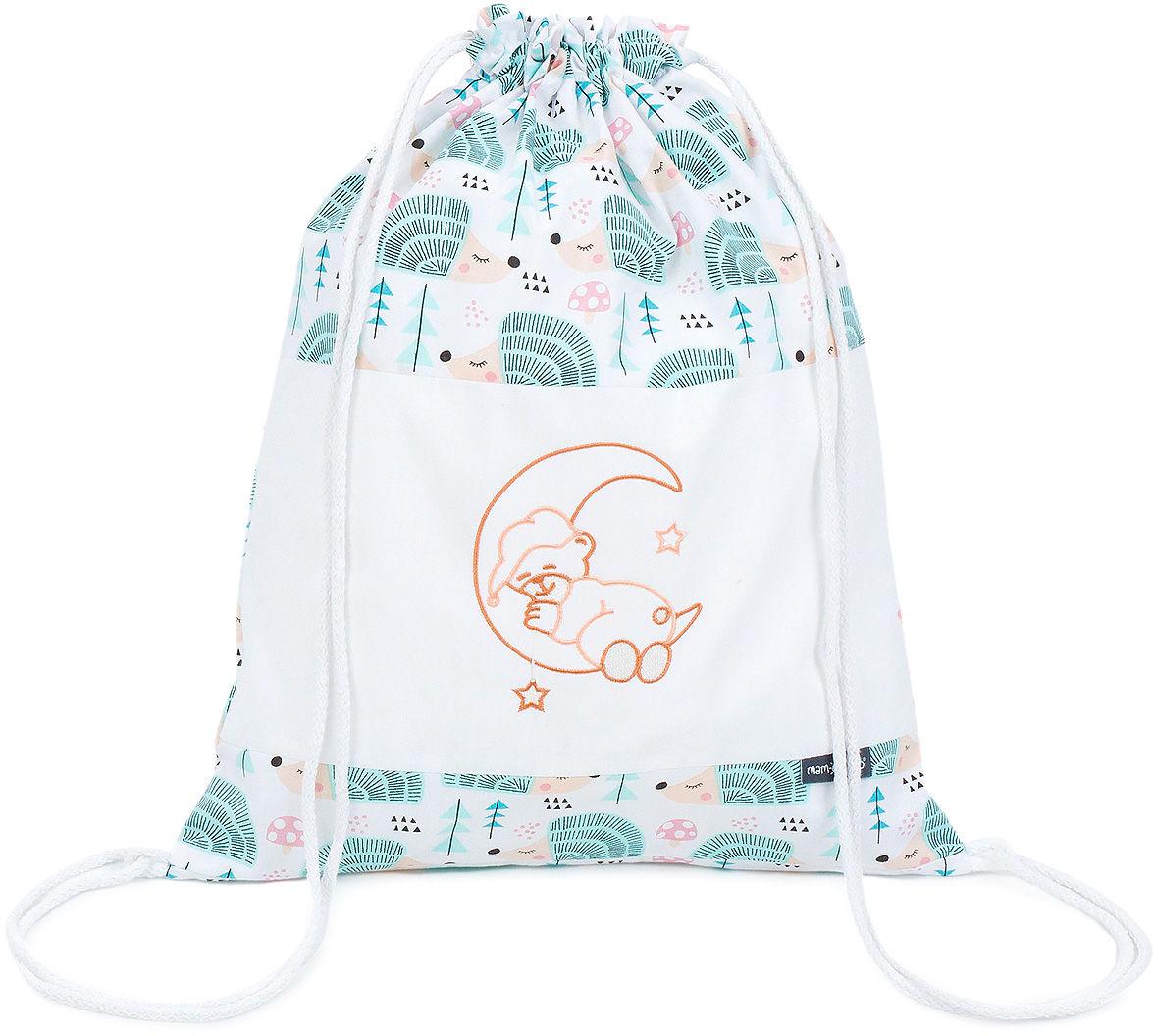 Plecak / worek bawełniany dla dzieci - Jeżyki turkus / miś na księżycu brzoskwiniowy