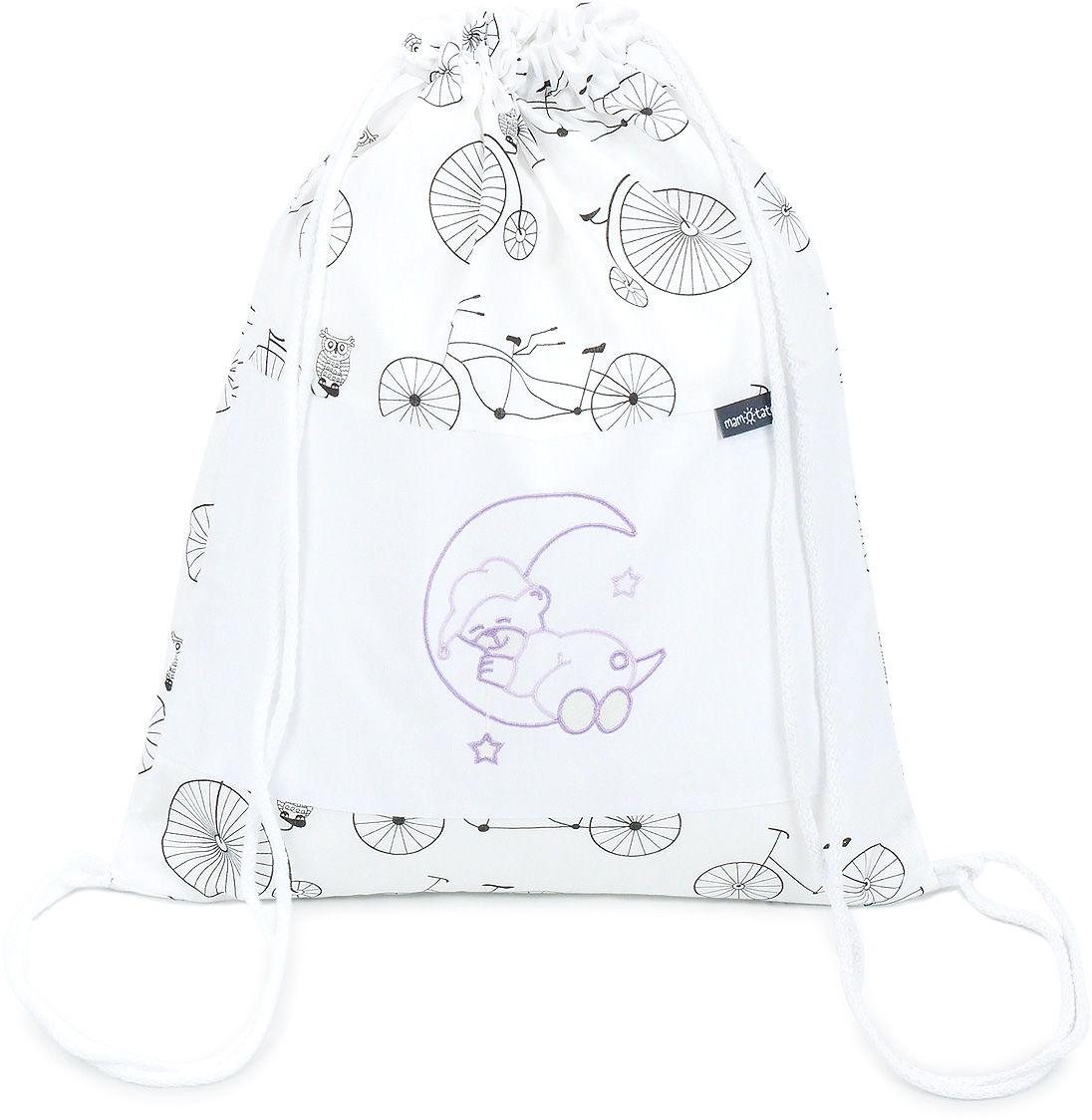 Plecak / worek bawełniany dla dzieci - Rowery / miś na księżycu lawendowy