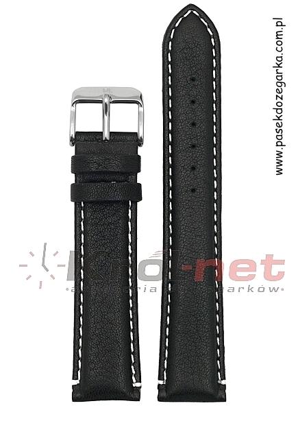 Pasek PA022/18 - czarny, białe przeszycia, long