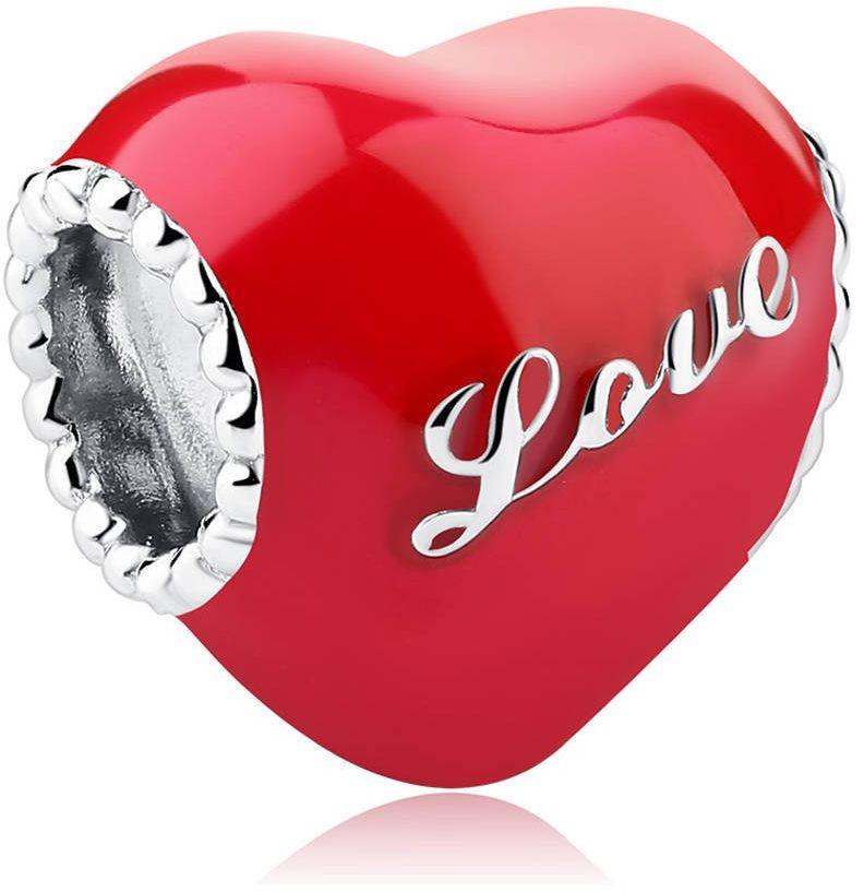 Srebrna Zawieszka Czerwone Serce Napis LOVE