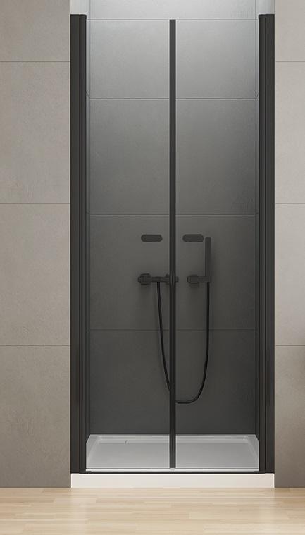 New Trendy New Soleo Black drzwi wnękowe dwuskrzydłowe 150x195 cm przejrzyste D-0249A