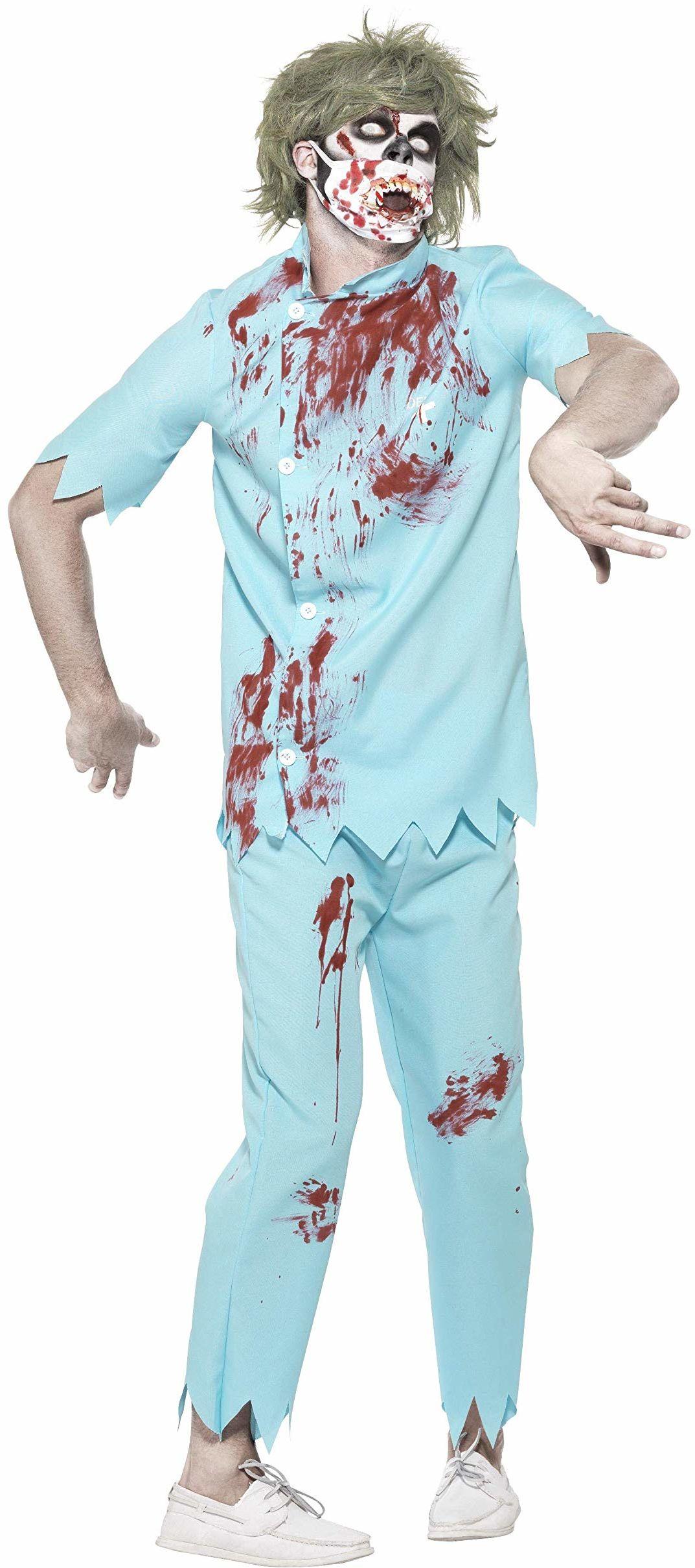 Smiffys 45567L - męski kostium dentysty zombie, górna część, spodnie, maska na twarz i lateks zęby, rozmiar: L, niebieski