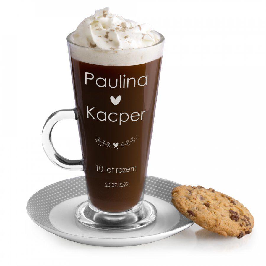 Szklanka do latte z grawerem dla pary na 10 rocznicę