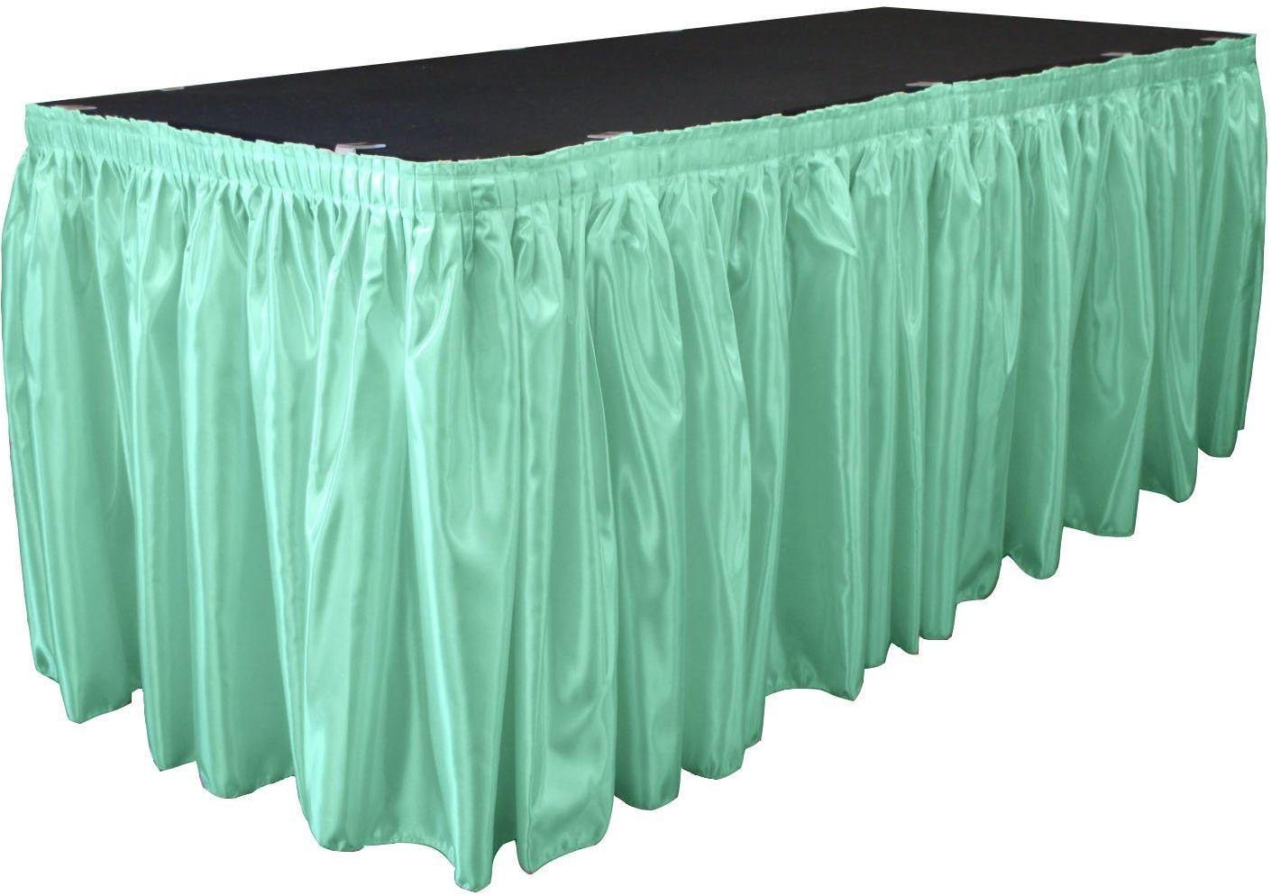 LA lniana satynowa spódnica na stół dla panny młodej 53 cm na 60 cm z 10 klipsami, mięta, stopy szerokości na 60 cm długości