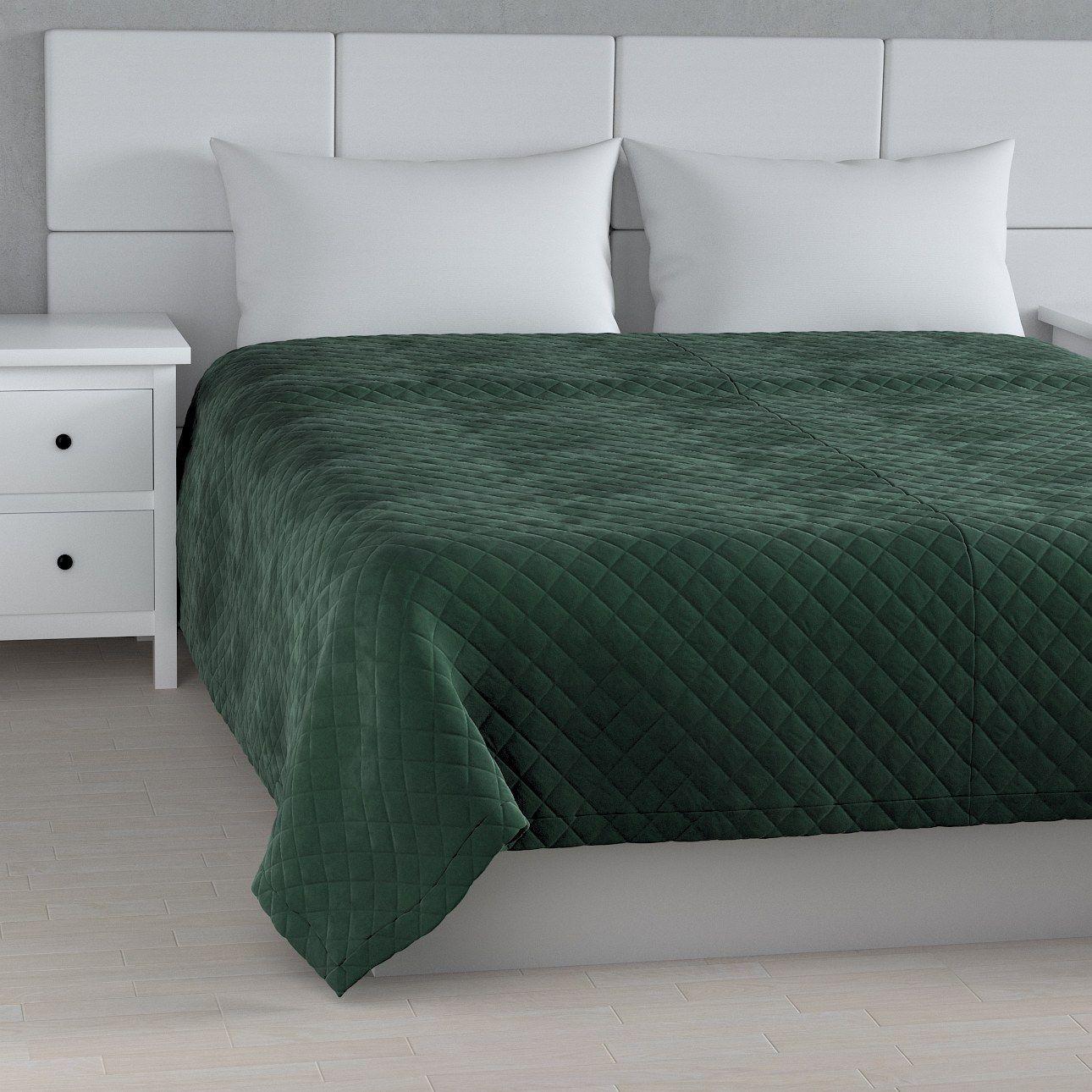 Narzuta pikowana w romby, ciemny zielony, szer.210  dł.170 cm, Velvet