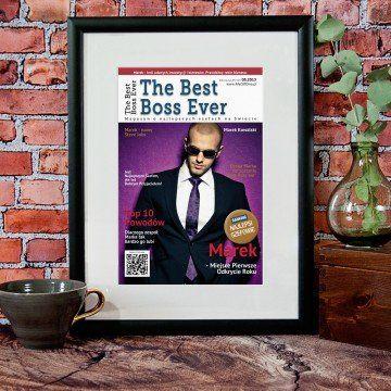 "Okładka ""The Best Boss Ever"" obramowana"