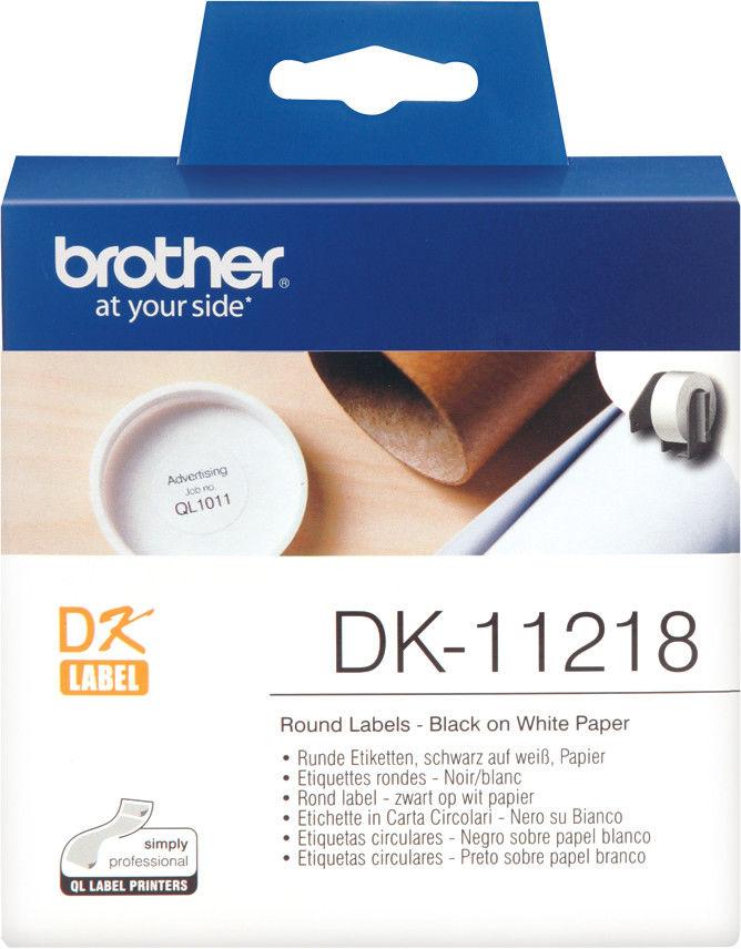 Brother DK-11218 białe etykiety papierowe okrągłe 24 mm 1000 szt, oryginalne