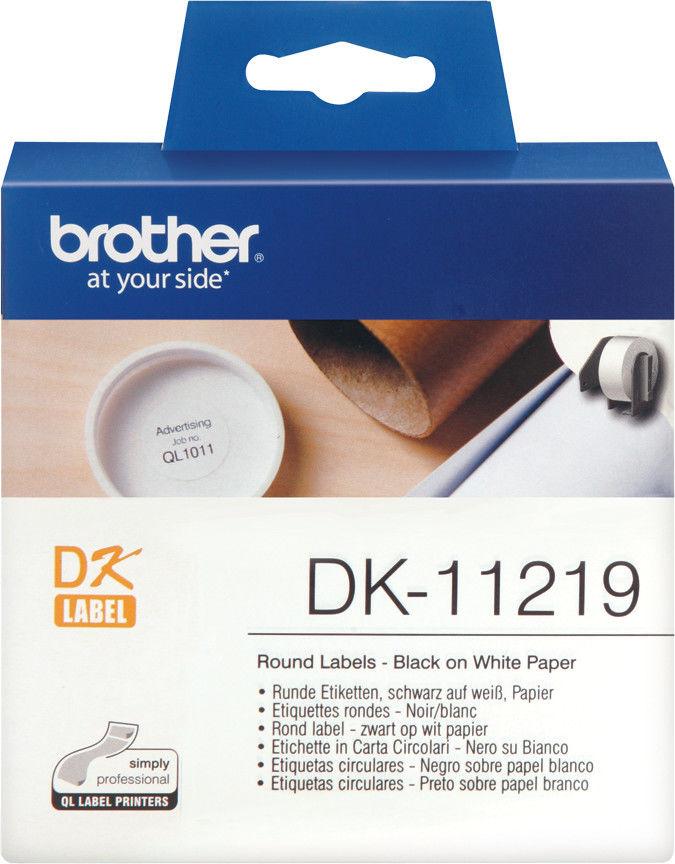 Brother DK-11219 białe etykiety papierowe okrągłe 12 mm 1000 szt, oryginalne