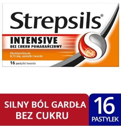 Strepsils Intensive bez cukru pomarańczowy 16 pastylek twardych