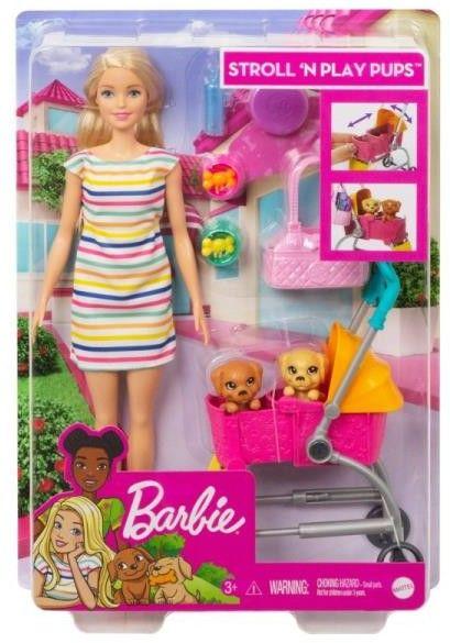 Barbie i spacerówka z pieskami GHV92