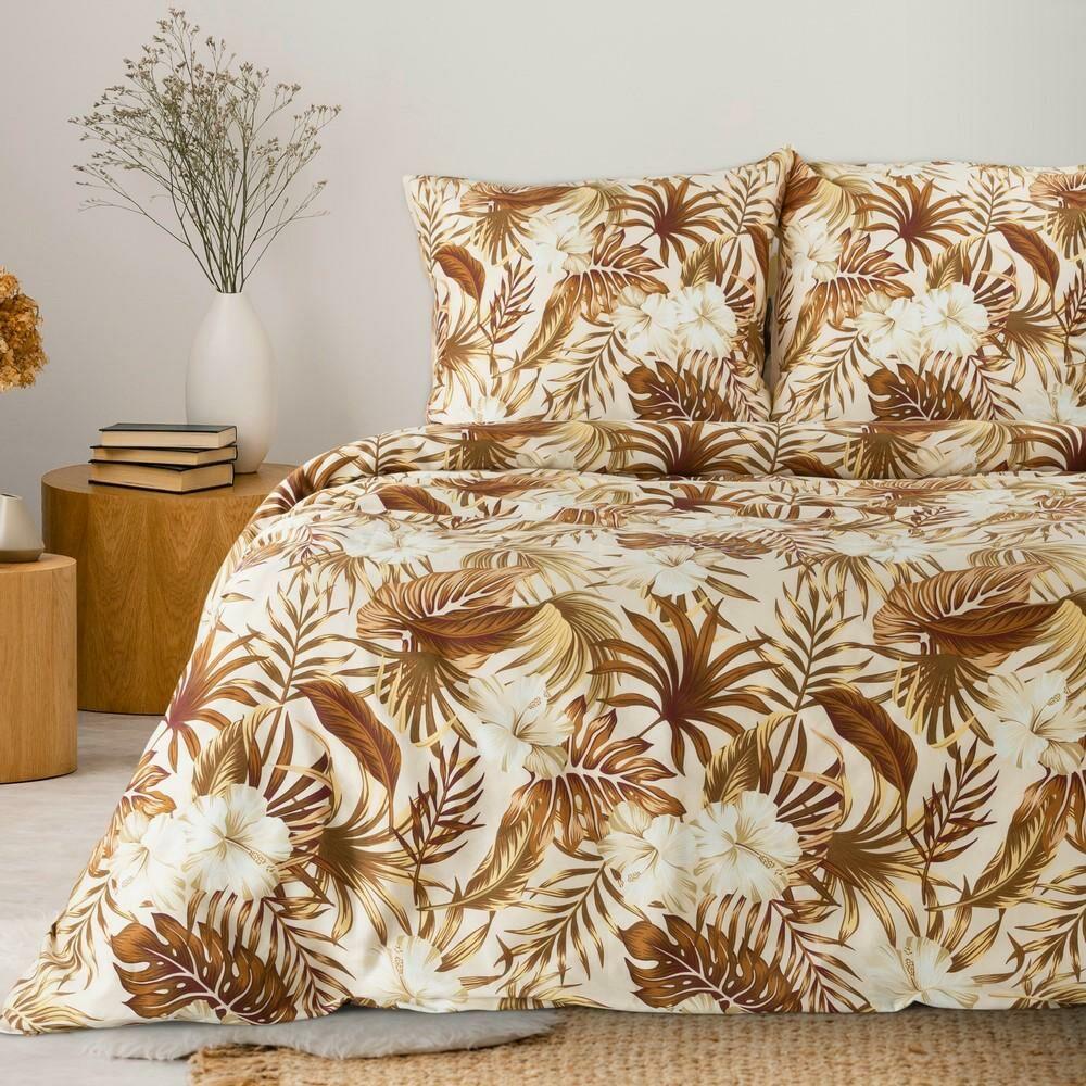 Pościel bawełniana 160x200 Classic 04 liście kwiaty kremowa brązowa palmy Eurofirany