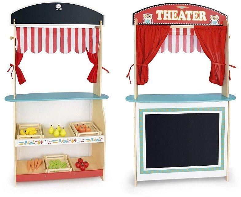 Teatrzyk dla dzieci oraz sklep drewniany, Sowa mądra głowa, zabawa w odgrywanie ról