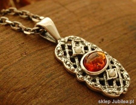 Iris - srebrny wisiorek z bursztynem i perłami