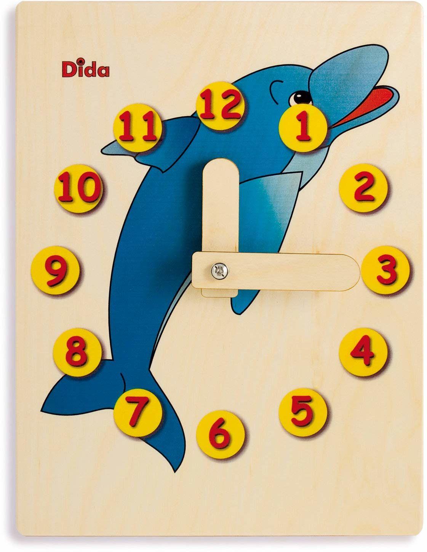 Dida - Zegarek do nauki dla dzieci - Delfin - ręczny zegarek do nauki czytania godziny.