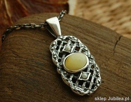 Barocco - srebrny wisiorek z bursztynem i perłami