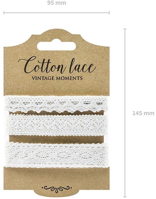 Zestaw koronek bawełnianych białych - 3 wzory
