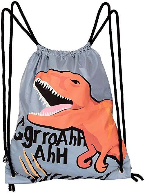 moses. Torba gimnastyczna T-Rex l torba sportowa z motywem dinozaura dla dzieci l odblaskowa torba sportowa dla lepszej widoczności w ciemności