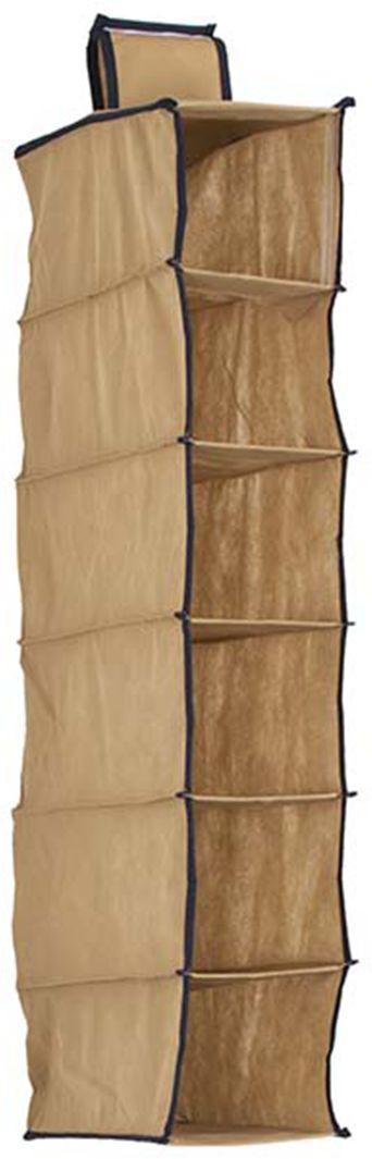 Organizer wiszący do szafy 6 częściowy beżowy 15 x 30 x 84 - Beżowy