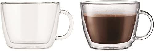 Bodum Bistro kubek do latte z podwójnymi ściankami, szkło borokrzemowe - 0,45 l / 48 ml, przezroczysty, 2 sztuki