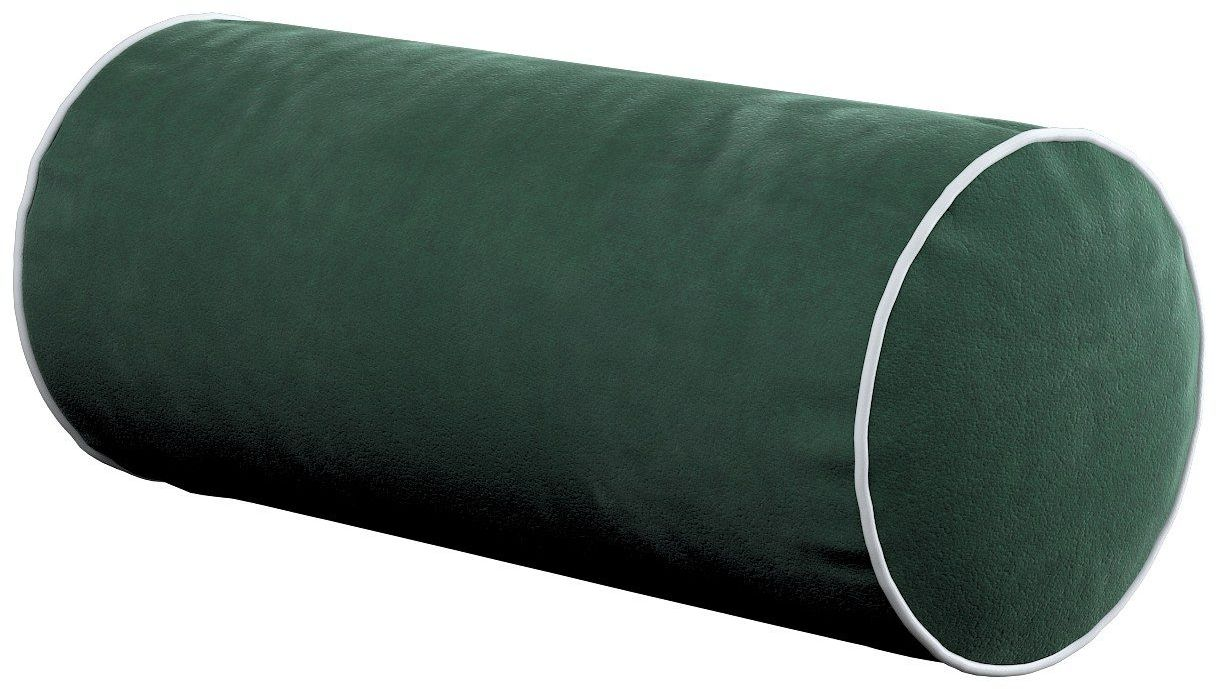 Poduszka wałek prosty z lamówką, ciemny zielony, Ø16  40 cm, Velvet