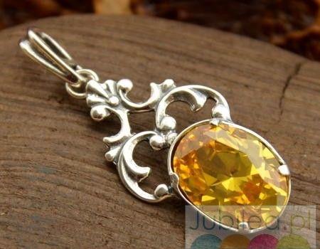 Xerta - srebrny wisiorek z cytrynem złocistym