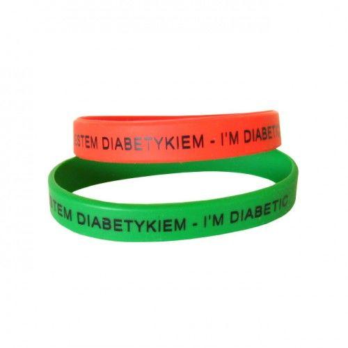 """Opaska silikonowa z nadrukiem """"Jestem diabetykiem"""""""