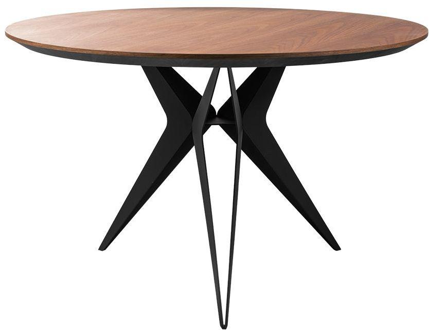 Okrągły drewniany stół stalowe czarne nogi 120x75 MT310