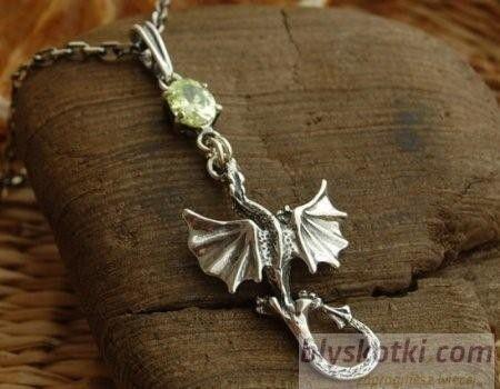 Dragon - srebrny wisiore z cytrynem