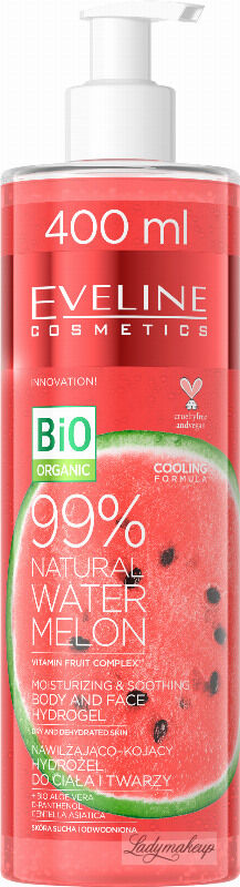 EVELINE - 99% Natural Water Melon - Moisturizing & Soothing Body and Face Hydrogel - Nawilżająco-kojący arbuzowy hydrożel do ciała i twarzy - 400 ml