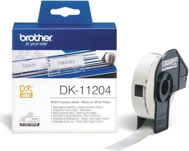 Brother DK-11204 białe etykiety papierowe 17 x 54 mm 400 szt, oryginalne