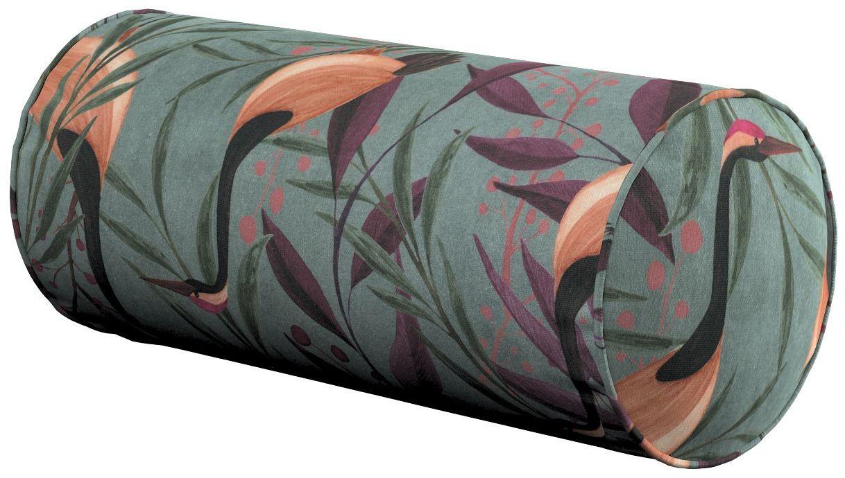 Poduszka wałek prosty, kolorowe czaple na szaro-zielonym tle, Ø16  40 cm, Abigail