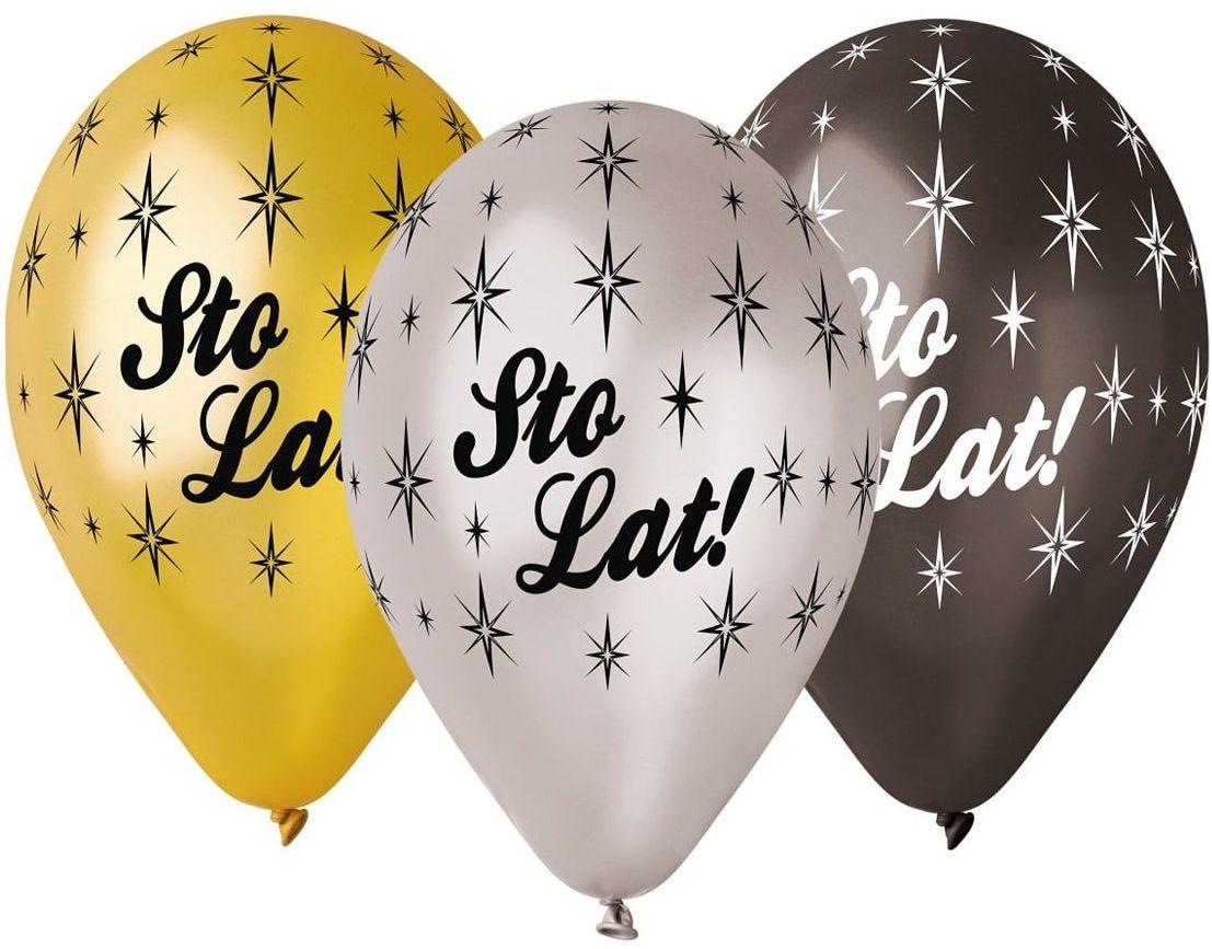 Balony metaliczne Sto Lat - 30 cm - 6 szt.