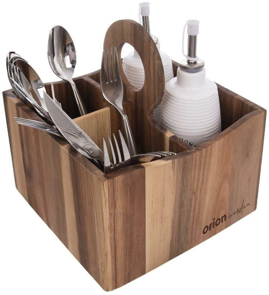 Pojemnik STOJAK koszyk na przybory kuchenne sztućce organizer WOODEN