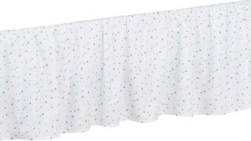 MAMO-TATO Falbanka do łóżeczka 70x140 Mini gwiazdki szare na bieli