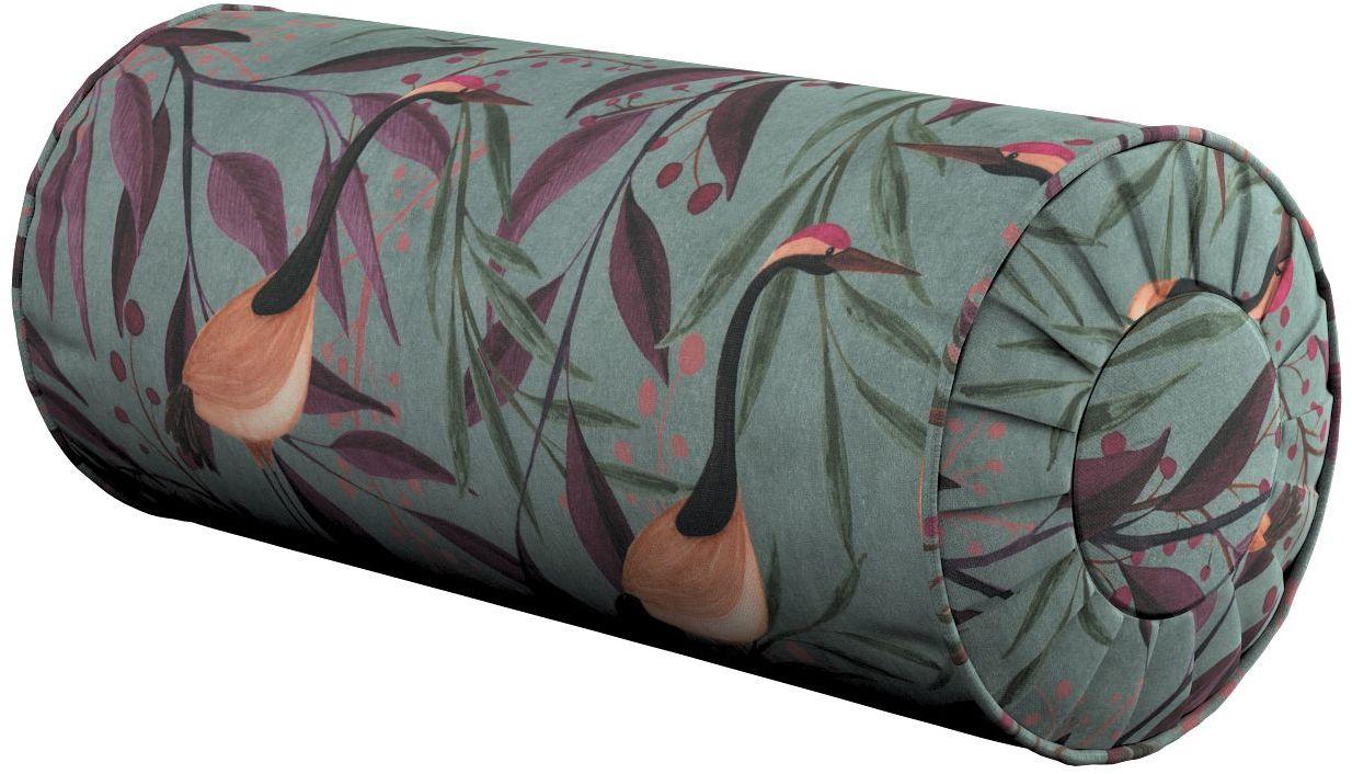Poduszka wałek z zakładkami, kolorowe czaple na szaro-zielonym tle, Ø20  50 cm, Abigail