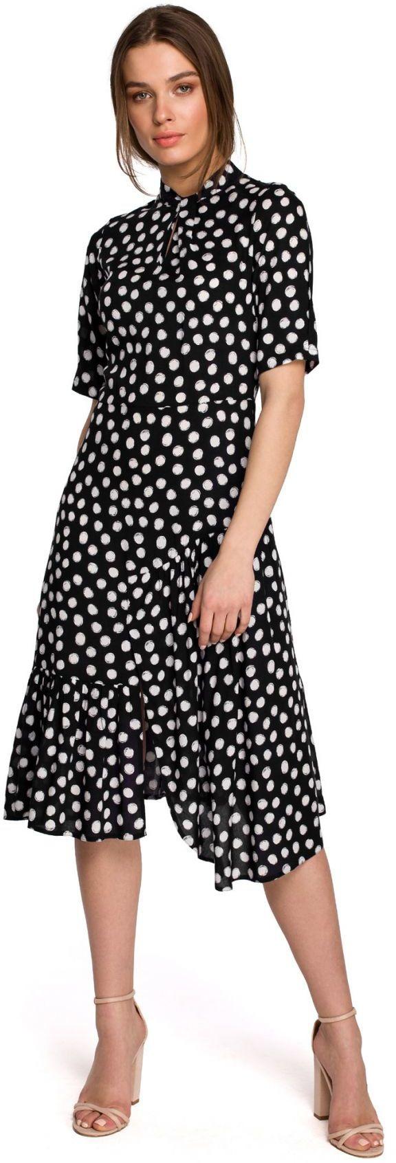 S263 Sukienka ze stójką i falbaną na dole - czarna