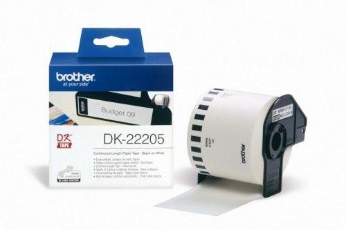Brother DK-22205 biała etykieta papierowa, ciągła 62 mm x 30,48 m, oryginalna