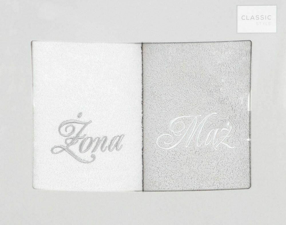 Komplet ręczników w pudełku 2 szt 50x90 Mąż Żona biały srebrny Eurofirany