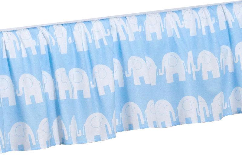 MAMO-TATO Falbanka do łóżeczka 70x140 Słoń niebieski